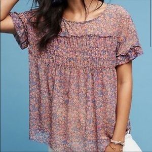 Anthropologie deletta Robyn smocked floral blouse